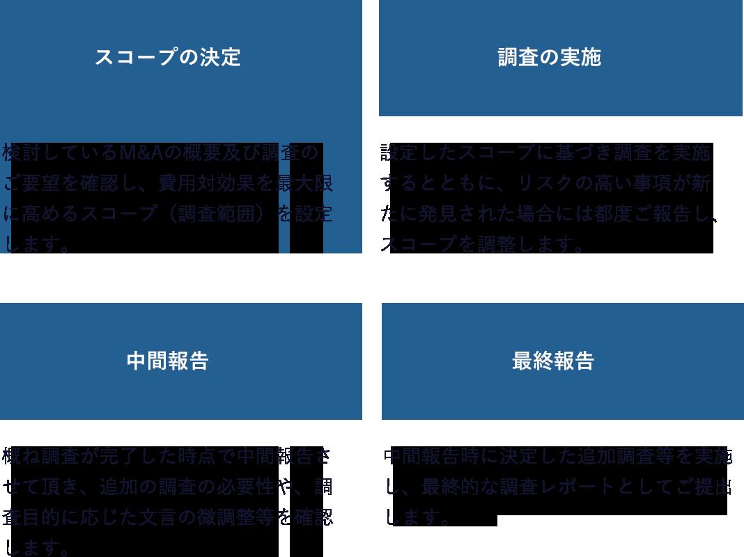 スコープの決定→調査の実施→中間報告→最終報告